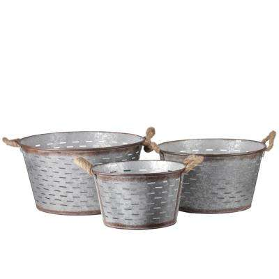 Round Metal Galvanized Gray Decorative Basket (Set of 3)