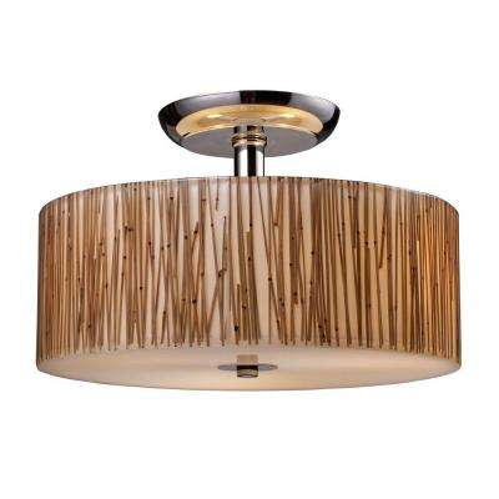 Modern Organics 3-Light Polished Chrome Ceiling Semi-Flush Mount Light