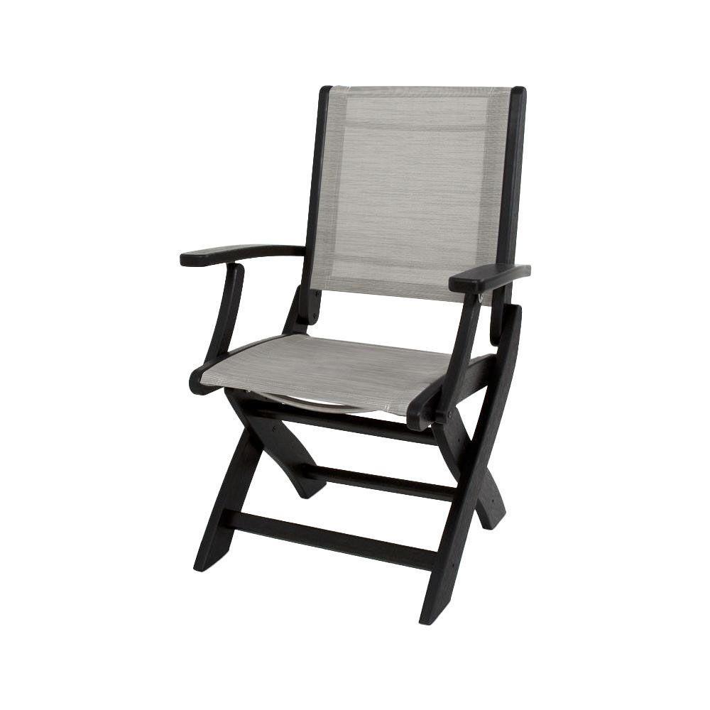 Polywood Black Metallic Sling Coastal Patio Folding Chair