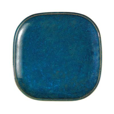 9.75 in. Blue Moss Porcelain Square Plates (Set of 12)
