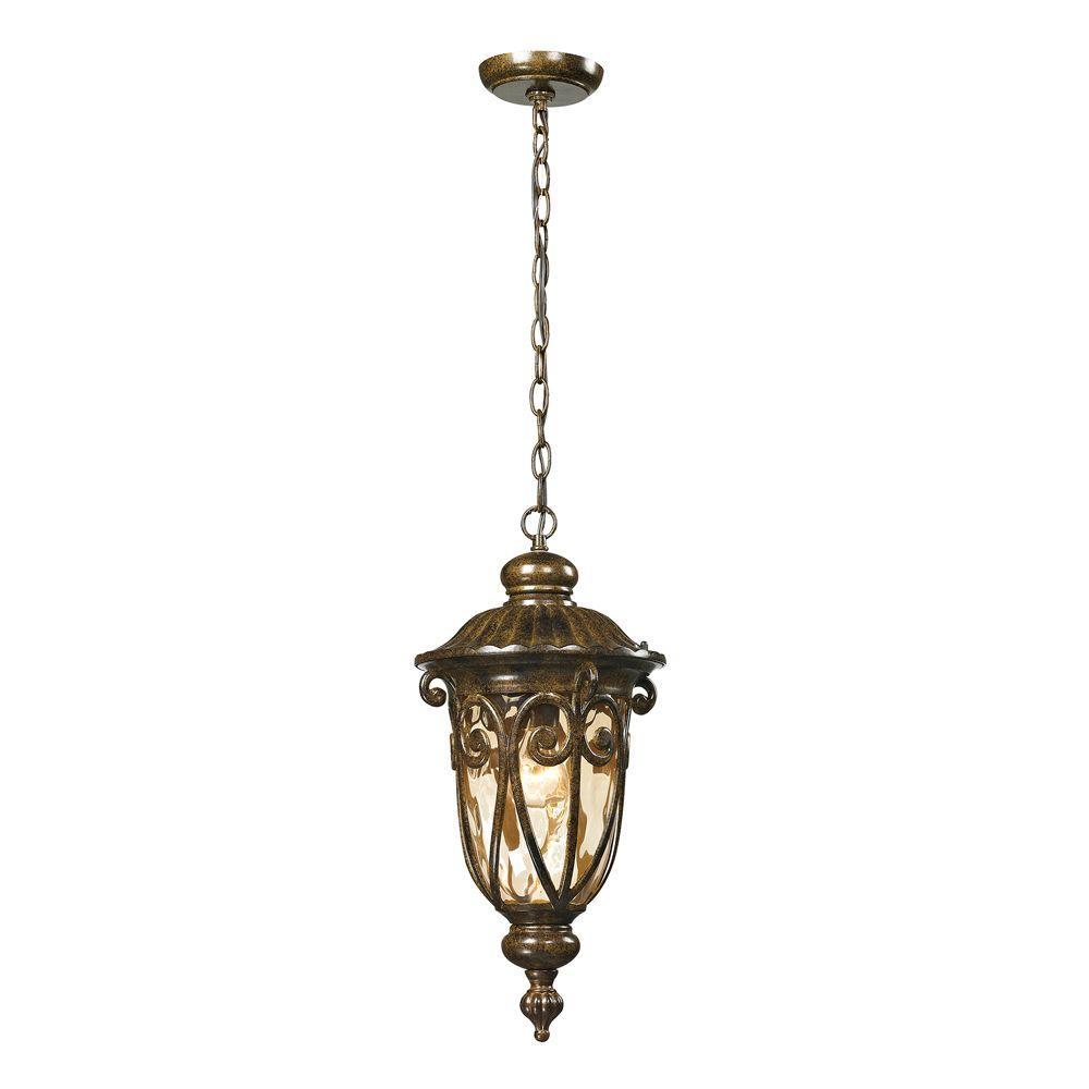 Titan Lighting Chantal Collection 1-Light Hazelnut Bronze Outdoor Pendant