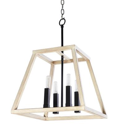 Lexington 4-Light Black and Wood Foyer Pendant