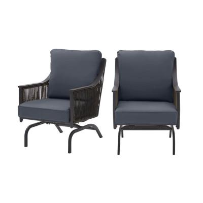 Bayhurst Black Wicker Outdoor Patio Rocking Lounge Chair with CushionGuard Sky Blue Cushions (2-Pack)