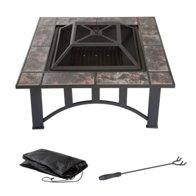 33 in. Square Steel Tile Fire Pit with Cover