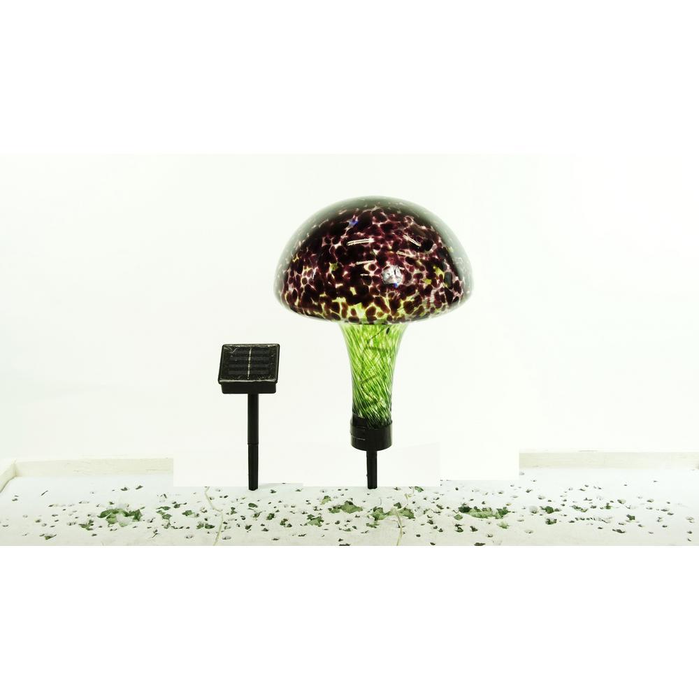 Solar Glass Mushroom with 16 LED Lights