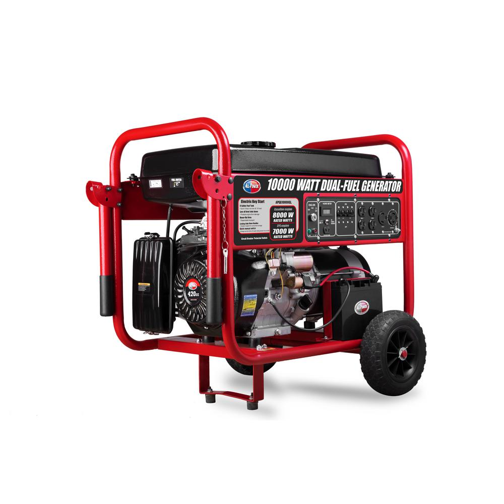 All Power 10000-Watt Dual Propane and Gasoline Powered Electric Start Portable Generator with Jiang Dong Engine