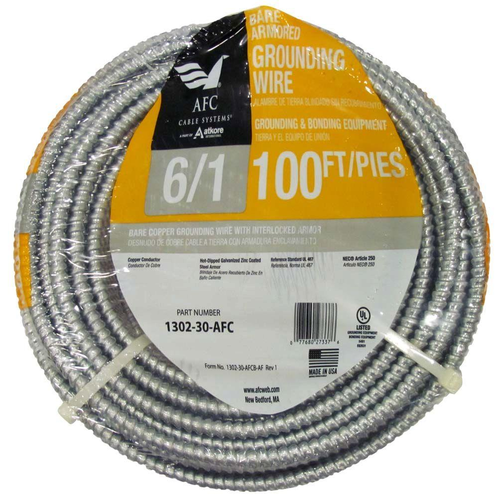 AFC Cable Systems 6/1 x 100 ft. Bare Armored Ground Cable-1302-30 ...