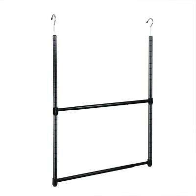 2-Tier Metal Portable Adjustable Closet Hanger Rod in Black