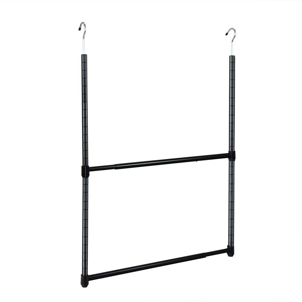 22.5 in. 2-Tier Metal Portable Adjustable Closet Hanger Rod in Black