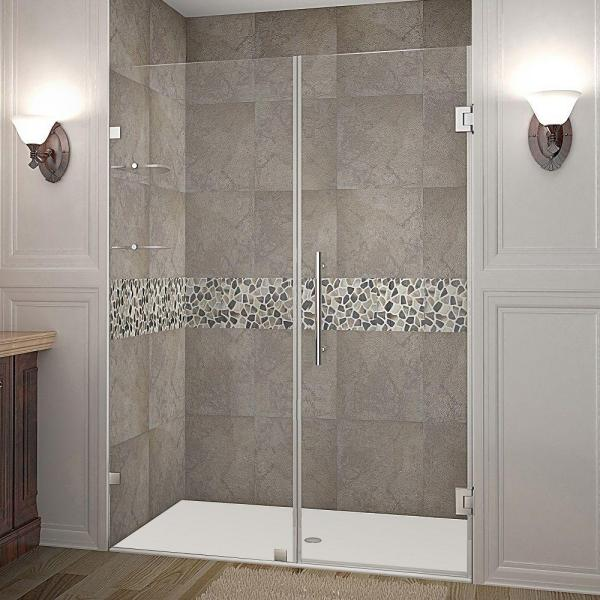 Nautis GS 58 in. x 72 in. Frameless Hinged Shower Door in Stainless Steel with Glass Shelves