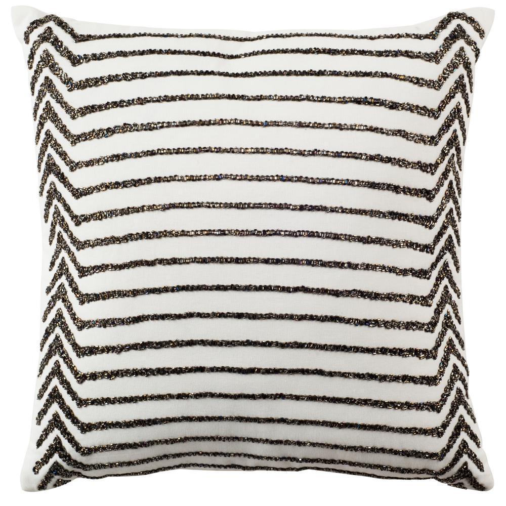 Emilia Cream Striped Down Alternative 18 in. x 18 in. Throw Pillow