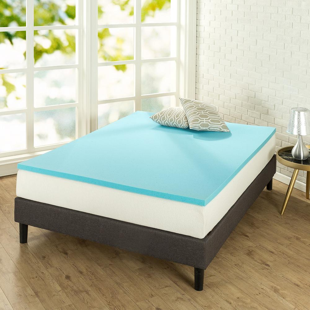 zinus 1 5 gel queen memory foam topper hd mgt 150q the home depot. Black Bedroom Furniture Sets. Home Design Ideas