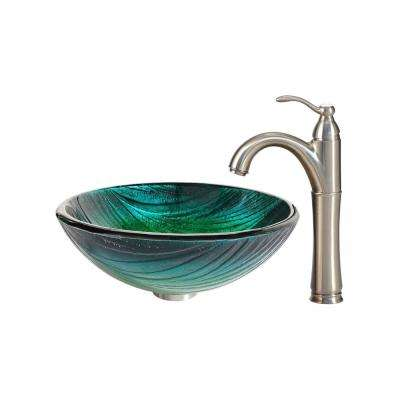 Nei Glass Vessel Sink in Green with Riviera Faucet in Satin Nickel
