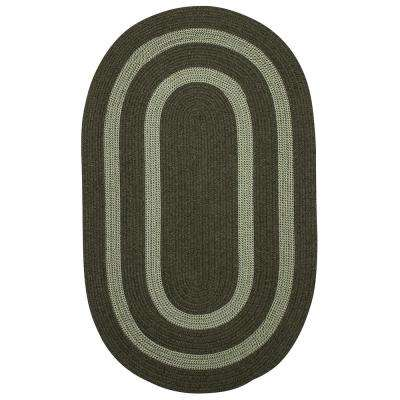 Paige Olive 2 ft. x 4 ft. Braided Oval Area Rug
