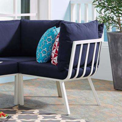 Riverside Aluminum Corner Outdoor Sectional Chair in White with Navy Cushions