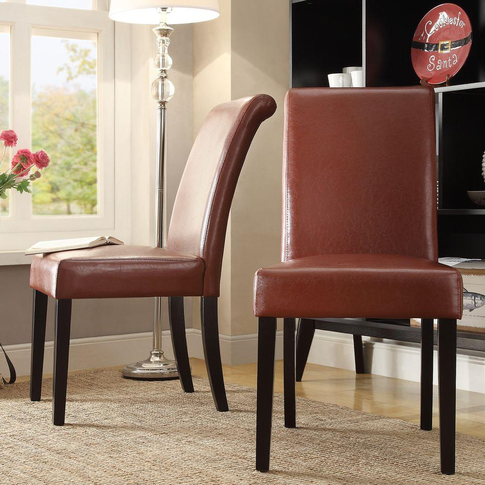 Red Leather Dining Room Chairs: HomeSullivan Fairfield Red Faux Leather Dining Chair (Set