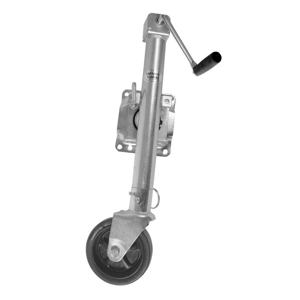 Sportsman 1500 lb. Trailer Jack with Swivel Wheel and Interchangeable Flat Foot Plate