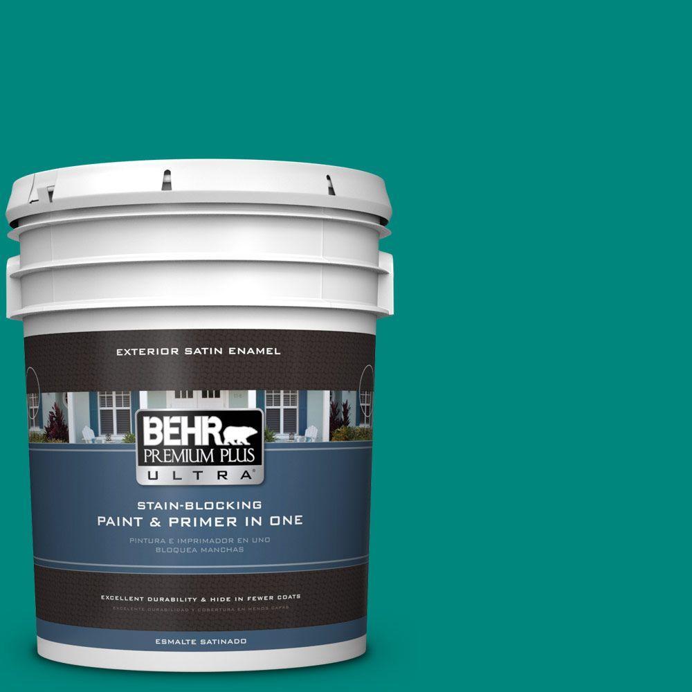 BEHR Premium Plus Ultra 5-gal. #P450-7 Mystic Turquoise Satin Enamel Exterior Paint