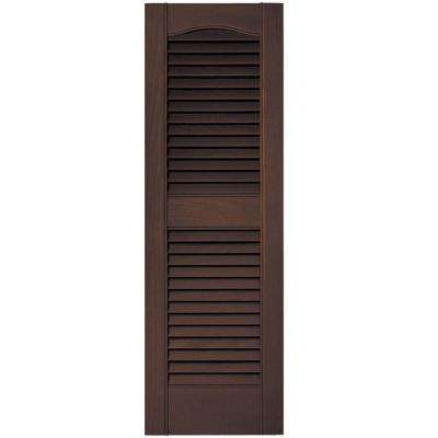 12 in. x 36 in. Louvered Vinyl Exterior Shutters Pair #009 Federal Brown