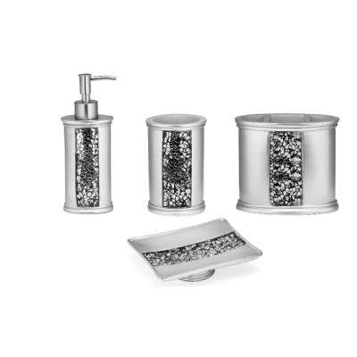 4-Piece Bathroom Set in Sparkling Silver
