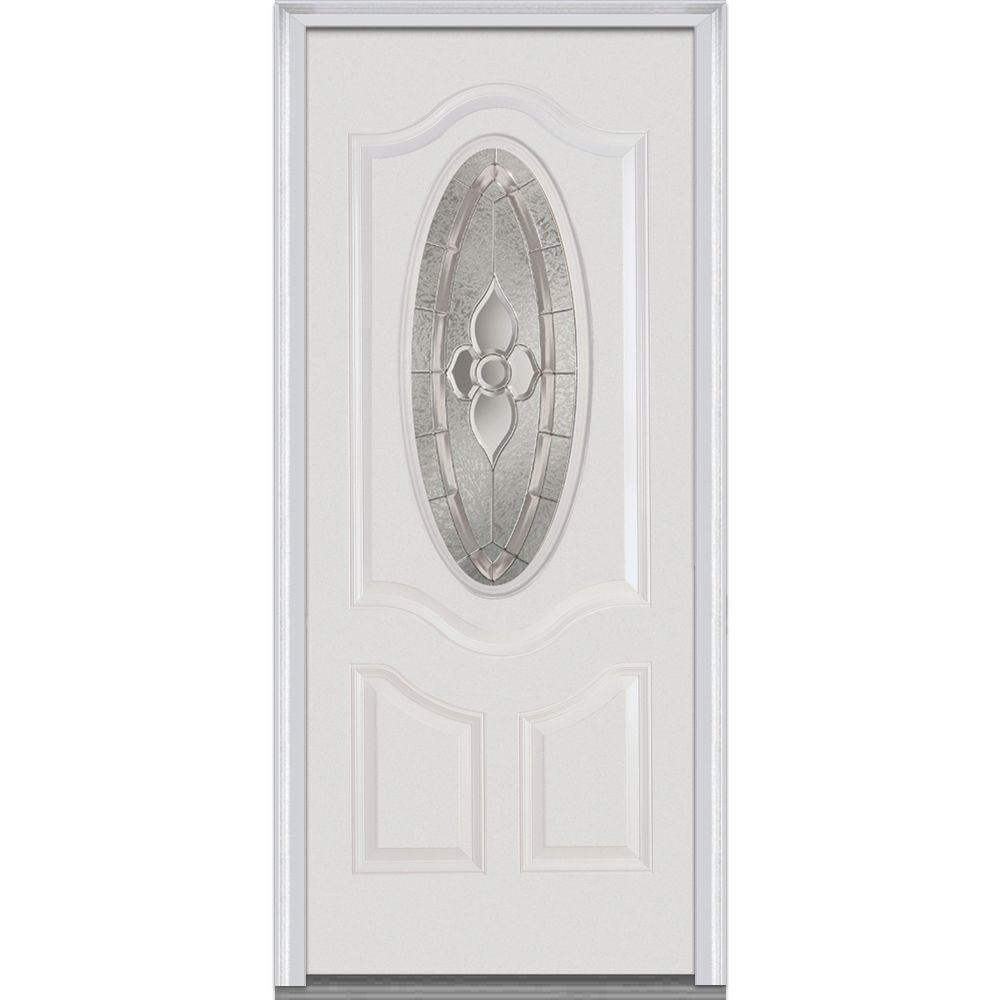 Milliken Millwork 36 in. x 80 in. Master Nouveau Right Hand 3/4 Oval Decorative Classic Primed Fiberglass Smooth Prehung Front Door