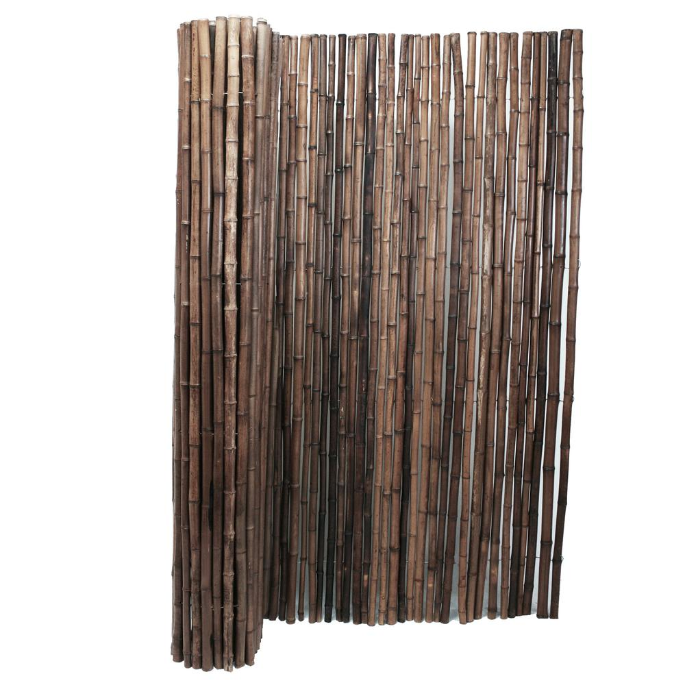 Backyard X-Scapes 1 in. D x 4 ft. H x 8 ft. W Carbonized Rolled Bamboo Garden Fence