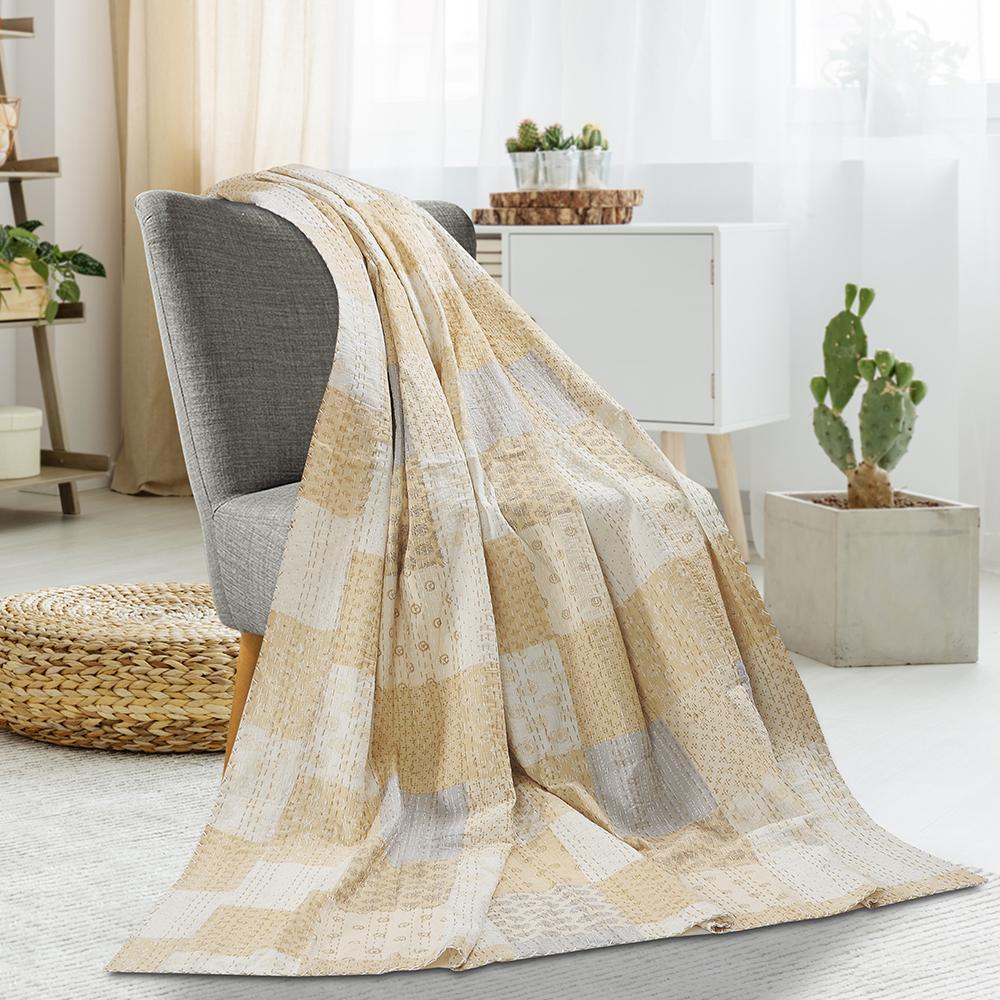 LR Resources Patchwork Metallic Cream Cotton Kantha Throw THROW80154MLT425A