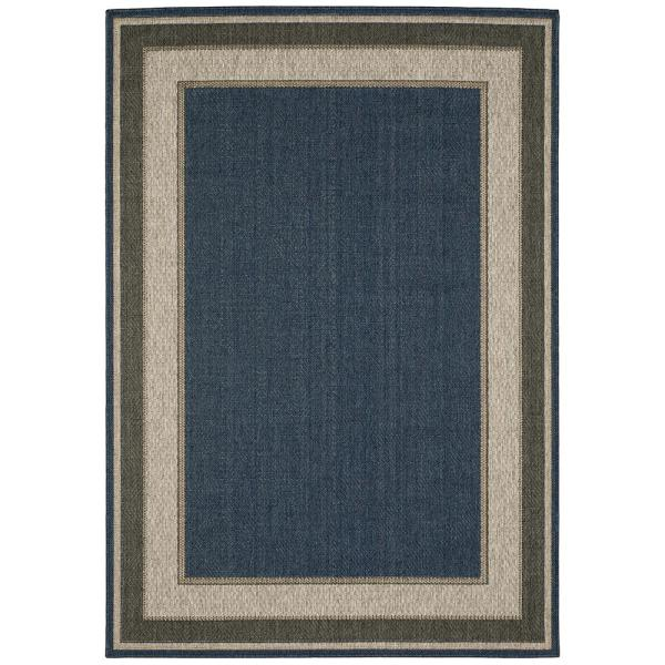 Jasper Blue 3 ft. x 5 ft. Border Indoor/Outdoor Area Rug