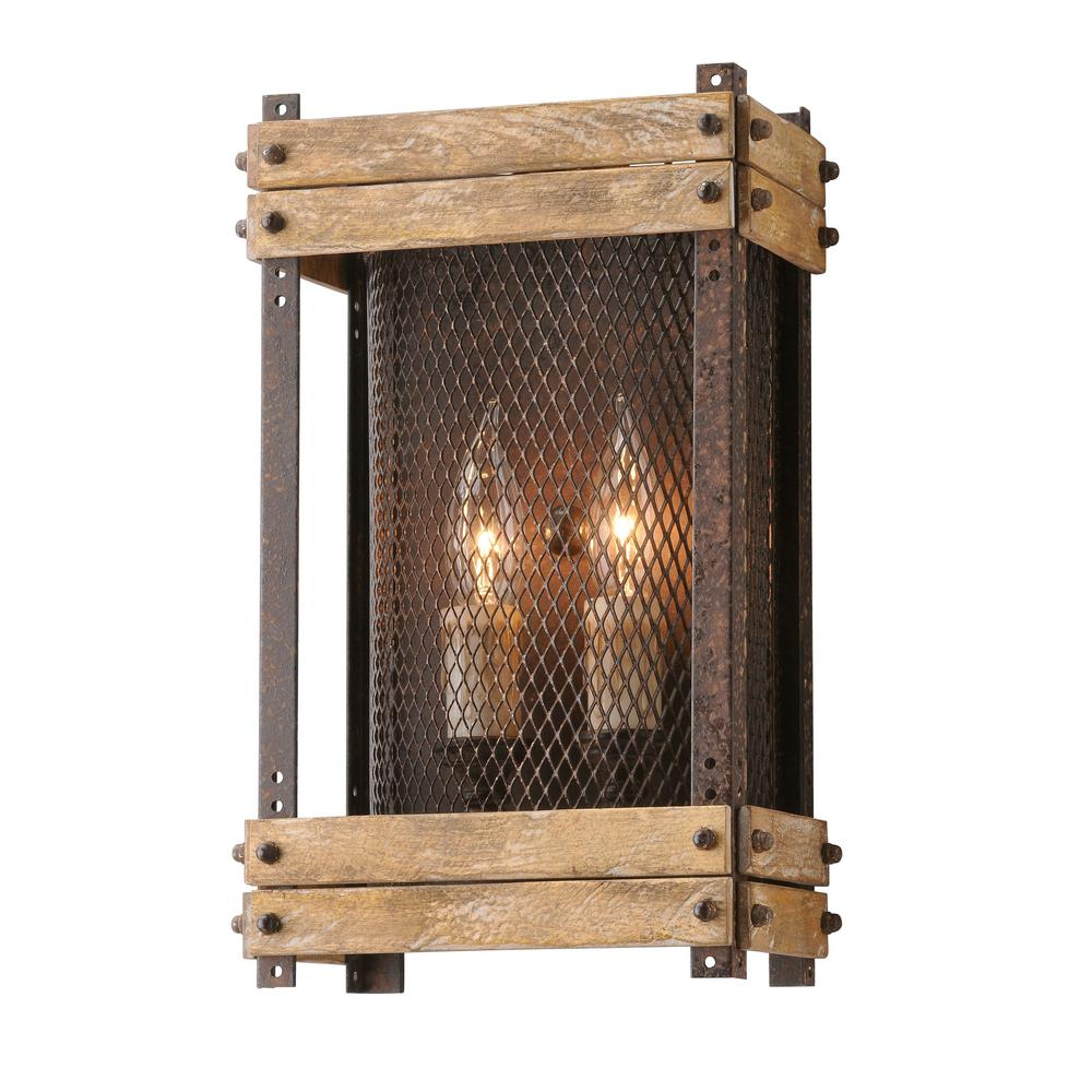 Troy Lighting Merchant Street 2-Light Rusty Iron Wall Sconce-B4062 ...