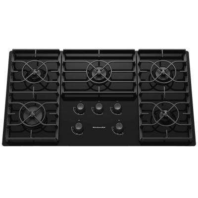Architect Series II 36 in. Gas-on-Glass Gas Cooktop in Black with 5 Burners including 17000-BTU Professional Burner