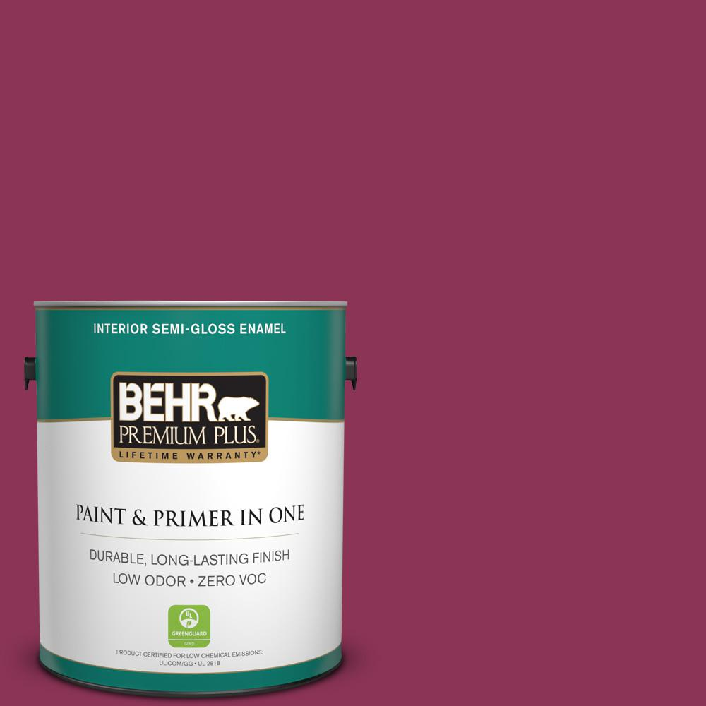 1-gal. #120D-6 Cranberry Splash Zero VOC Semi-Gloss Enamel Interior Paint