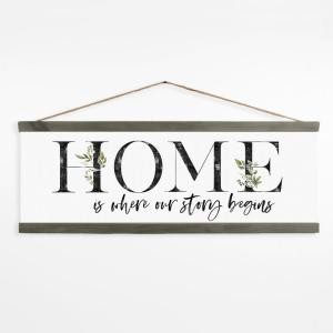 Home Is Where Our Story Begins Wall Art with Grey Pine Wood Frame
