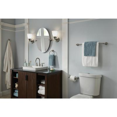 Banbury 3-Piece Bath Hardware Set with 24 in. Towel Bar, Toilet Paper Holder, and Towel Ring in Brushed Nickel