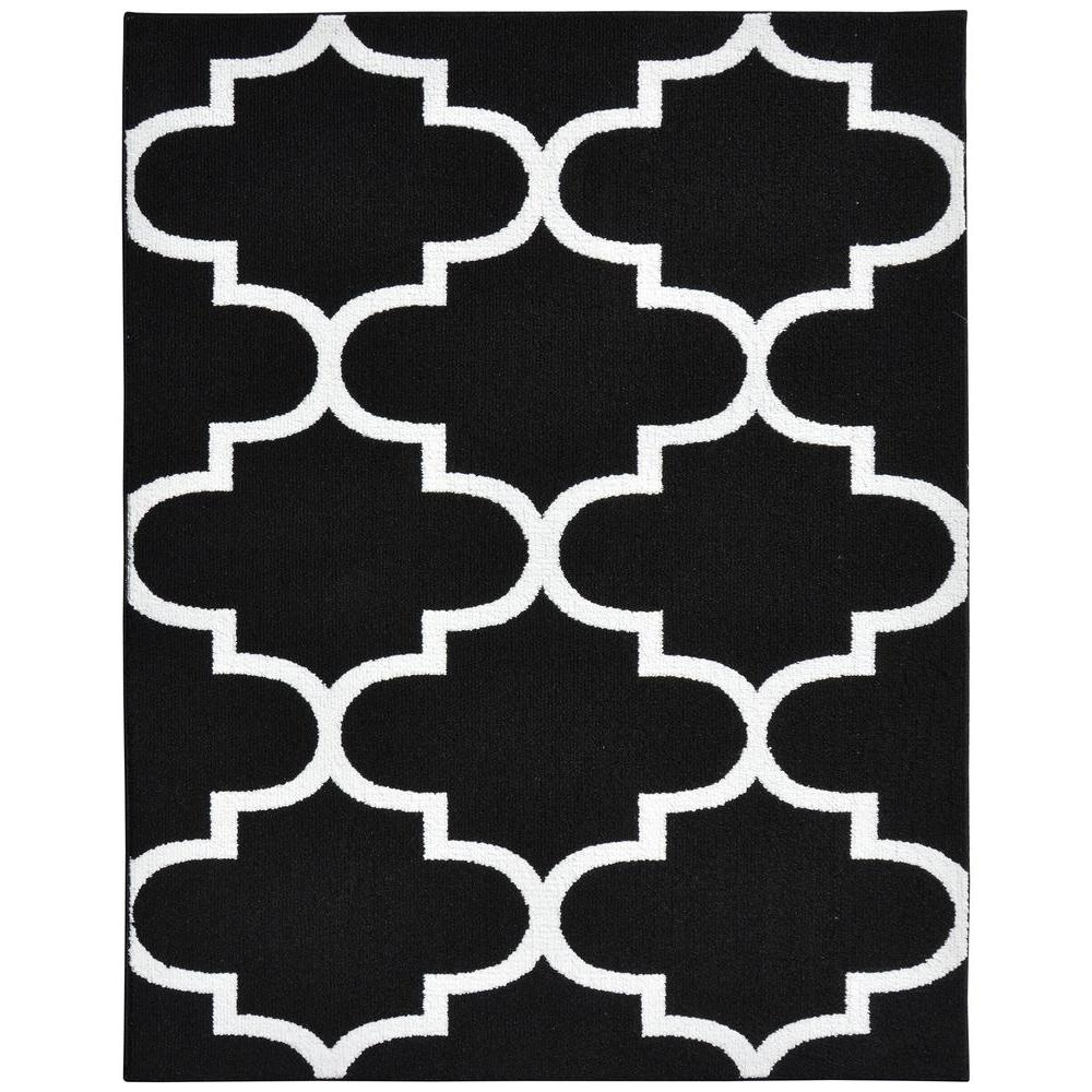Garland Rug Large Quatrefoil Black White 8 Ft X 10 Area