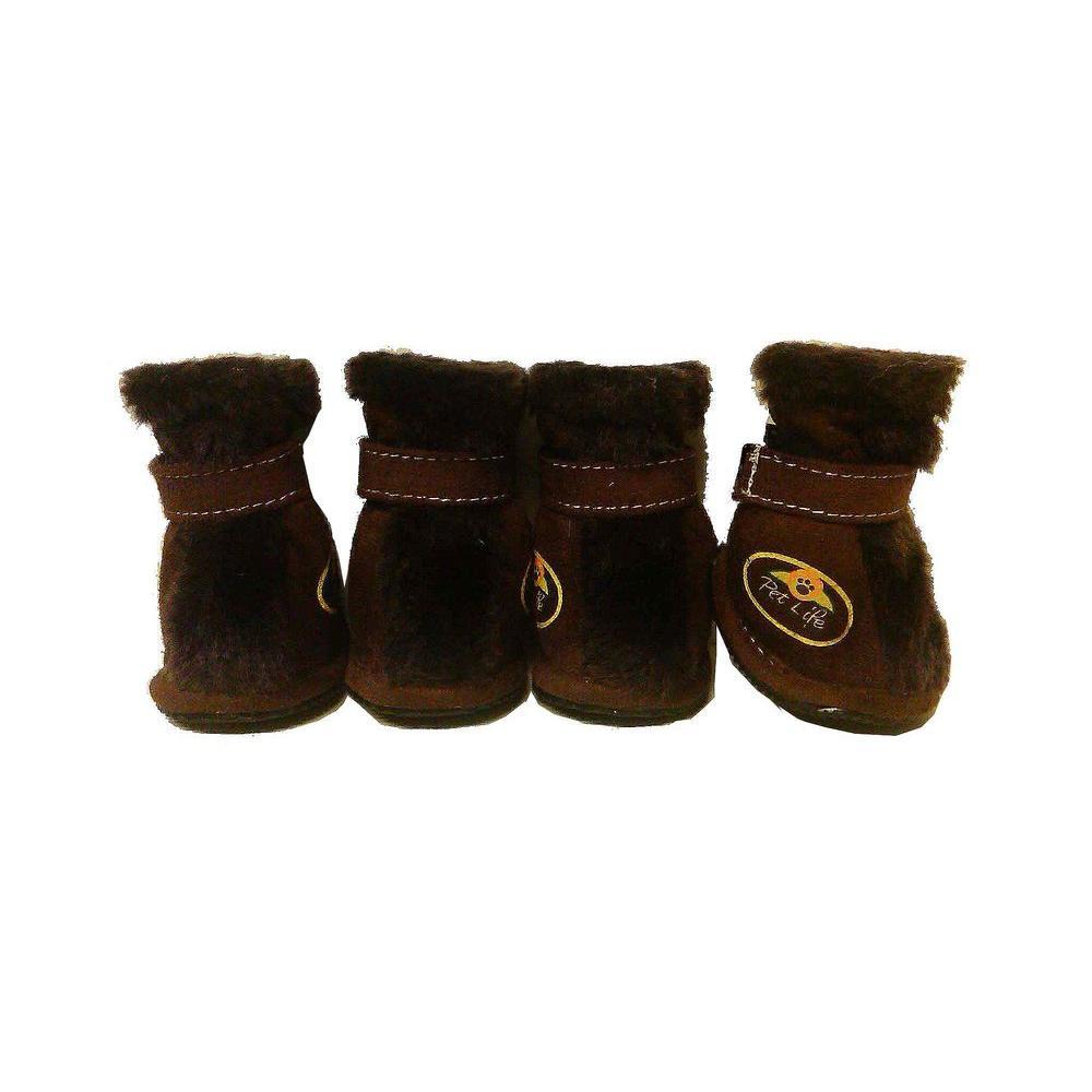 PET LIFE Medium Brown Ultra Fur Protective Boots (Set of 4)