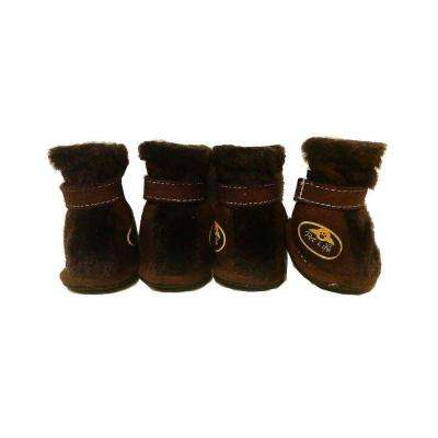 X-Small Brown Ultra Fur Protective Boots (Set of 4)