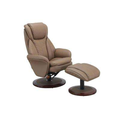 Comfort Chair Sand Leather Swivel Recliner with Ottoman