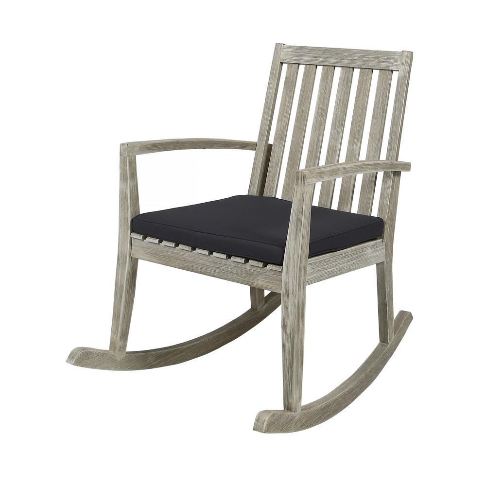 Montrose Light Grey Wood Outdoor Rocking Chair with Dark Grey Cushion