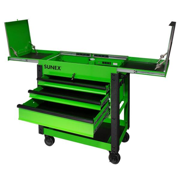 37 in. 3-Drawer Slide Top Utility Cart in Lime Green