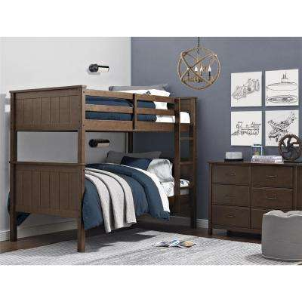 Maxton Mocha Wood Twin Over Twin Bunk Bed