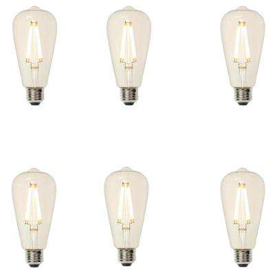 40W Equivalent ST20 Dimmable Filament LED Light Bulb Soft White (6-Pack)