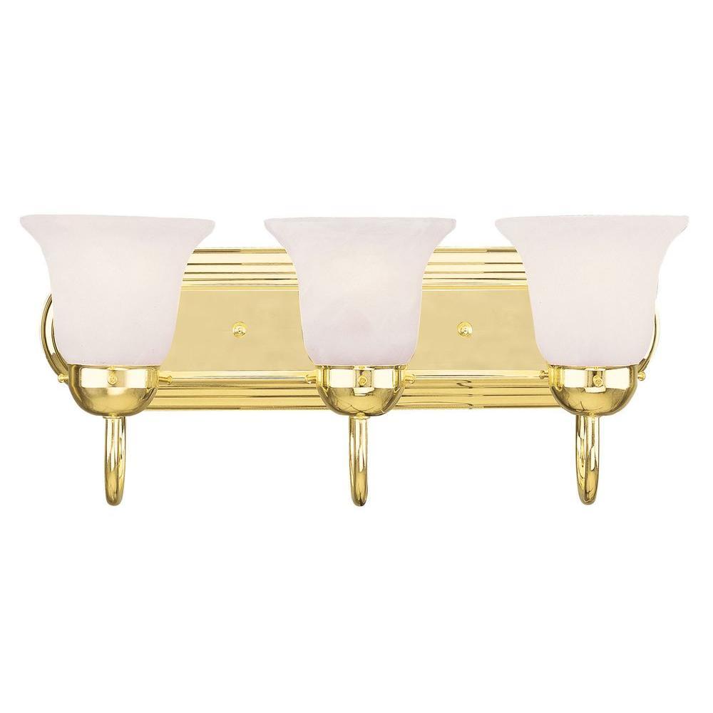 3-Light Polished Brass Bath Light