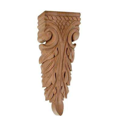 5-7/8 in. x 2-1/2 in. x 7/8 in. Unfinished Hand Carved North American Solid Cherry Wood Onlay Acanthus Wood Applique