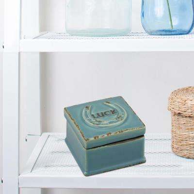 3.5 in. x 2.75 in. Worn Denim Ceramic Luck Trinket Box