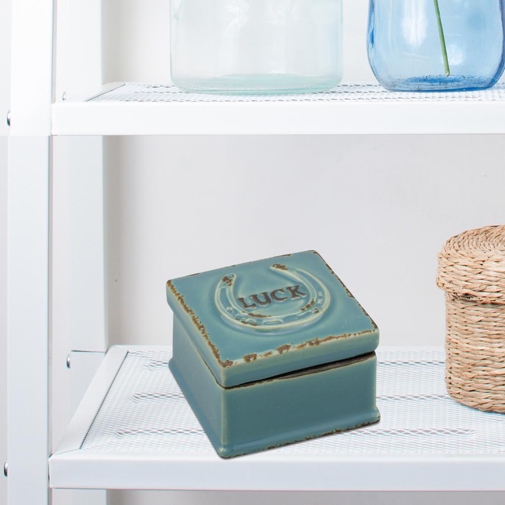 3.5 in. x 2.75 in. Worn Denim Ceramic Luck Trinket Box