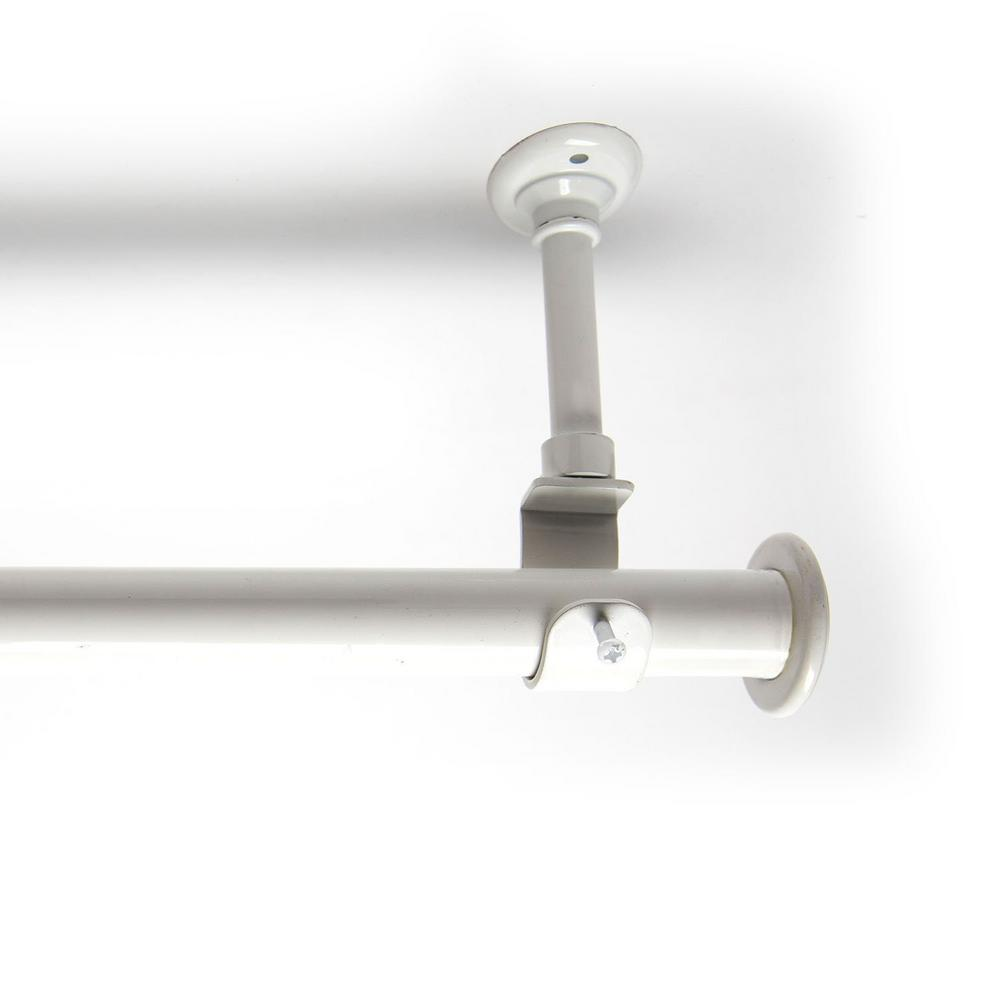 RoomDividersNow 108 in. - 168 in. Hanging Single Curtain Rod With Brackets in White