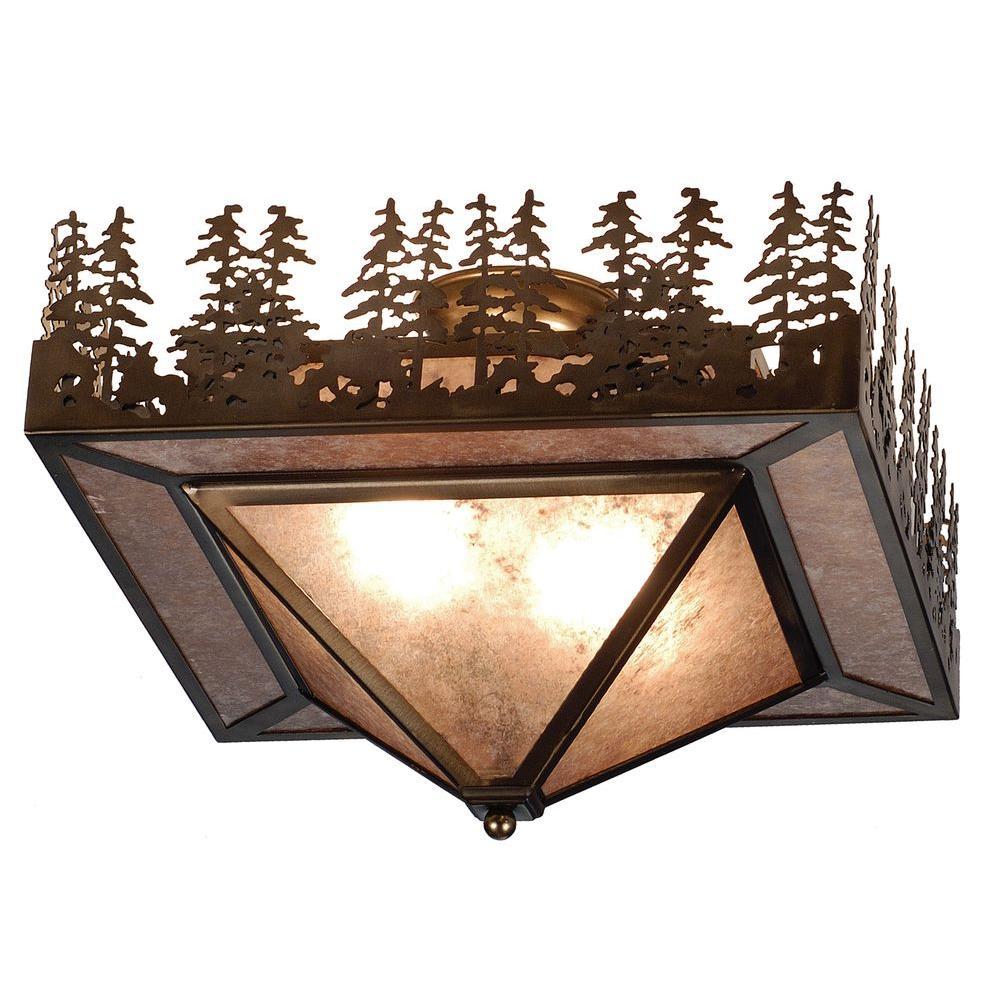 Illumine 2 Pine Lake Flushmount Antique Copper Finish Mica Glass