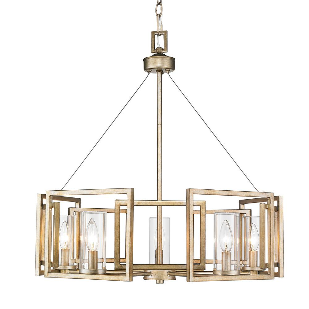 Golden lighting marco 5 light white gold chandelier with clear glass golden lighting marco 5 light white gold chandelier with clear glass shade aloadofball Choice Image