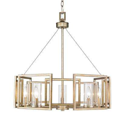 Marco 5-Light White Gold Chandelier with Clear Glass Shade