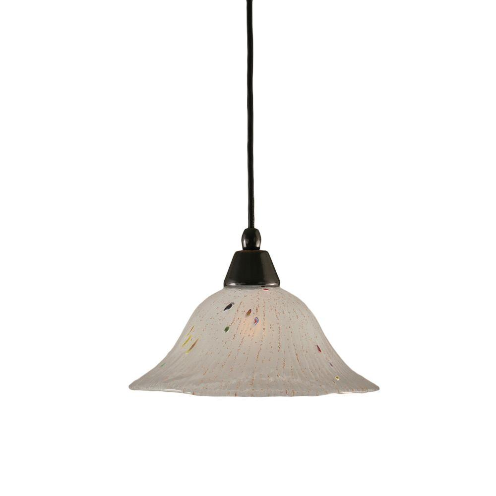 1-Light Black Copper Pendant with Frosted Crystal Glass